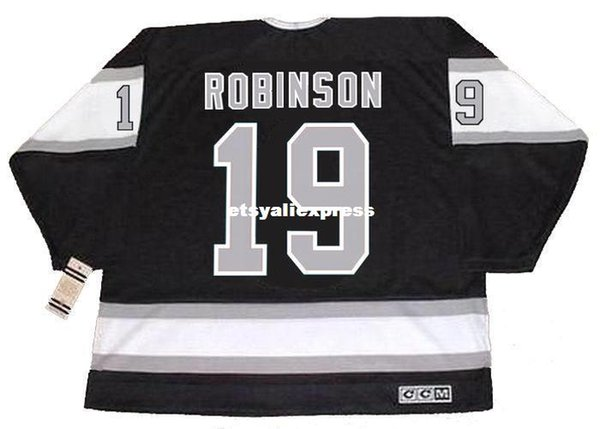 Custom Mens LARRY ROBINSON Los Angeles Kings 1989 CCM Jerseys Vintage Away Barato Retro Hockey Jersey