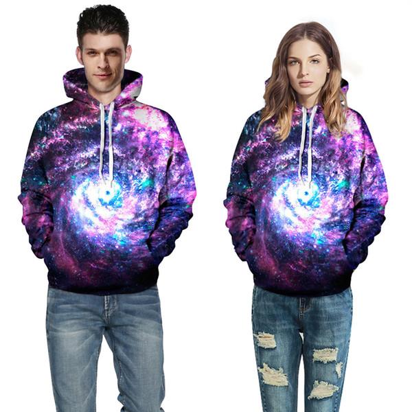 S-3XL Women Men Couple Fashion Psychedelic Stars 3D Print Pattern Loose Long Sleeved Jumper Sweatshirt Hooded Hoodie Pullover Outwear