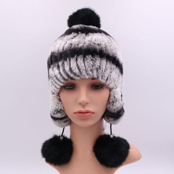 Women Fur Hat Scarf Sets Autumn Winter Warm Vintage Rex Rabbit Fur Female Caps Scarves Ear Protection Lady Hats 2018 New Arrival