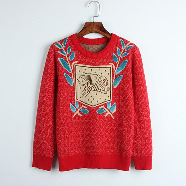 활주로 스웨터 여성 2018 새로운 Sueter 잎과 만화 자 수 스웨터 블 링 점퍼 니트 풀오버 패션 봄 유니폼