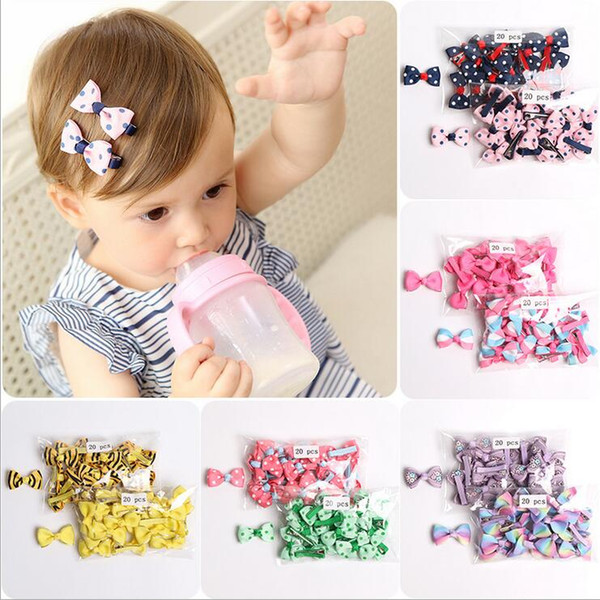 40 Colors Fashion Baby Ribbon Bow Hairpin Clips Girls Large Bowknot Barrette Kids Hair Boutique Bows Children Hair Accessories