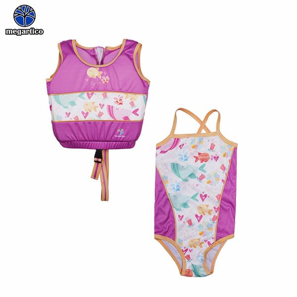 Megartico gilet de sauvetage enfants poisson violet 2 pièces set maillot de bain et maillot de bain maillot de bain pour filles pour 2-6