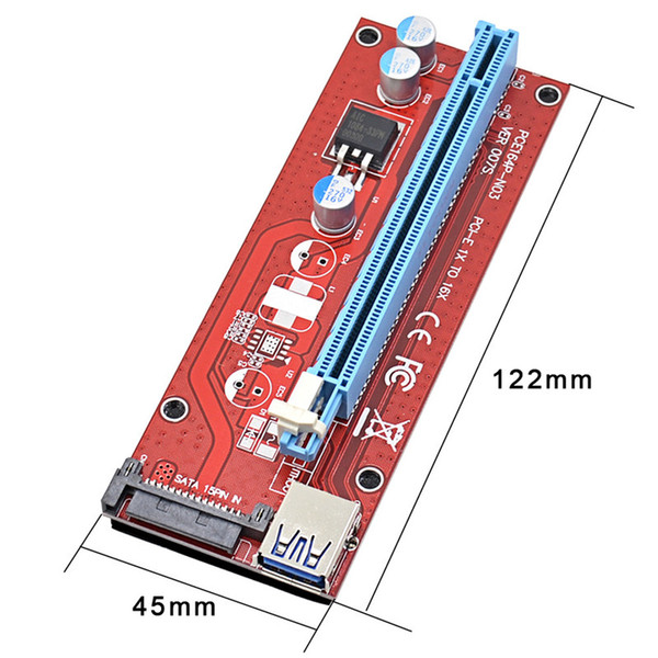 For bitcoin miner riser PCI-E extender PCI Express Riser Card 1x to 16x USB 3.0 SATA to 15Pin Power Supply 60cm Latest 007s ver OTH821