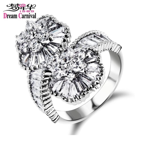 DreamCarnival 1989 Superior Luxury Design! 2 Flowers Baguette Crystals Wedding Cocktail Party Vintage Women Jewelry Big Rings
