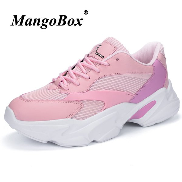 New Arrival Sports Shoes for Ladies Hard-Wearing Running Trainers Thick Soled Female Jogging Sneakers Pink Black Athletic Shoes