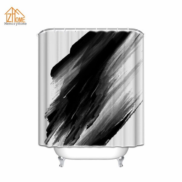 Memory Home Creative Classical Chinese Style Ink Painting Decorative Black Color Paint Stain Fabric Bathroom Shower Curtain