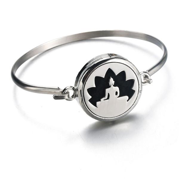 Aromatherapie Diffusor Medaillon Armband Lotus Sitz Edelstahl Armreif Magnetisch Nach Dem Zufall Senden 1 stücke Öl Pads als Geschenk