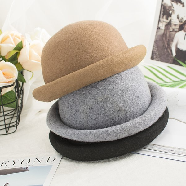 New Fashion Women Winter Hats Solid Wool Felt Bowler Hats Retro Female Fedoras Elegant Brand Cloche Bucket Hat