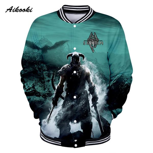 Aikooki The Elder Scrolls V Men 3D Jackets Coon Jacket Sweatshirt 3D mens Jackets Baseball Winter Autumn Fashion Cool Clothes