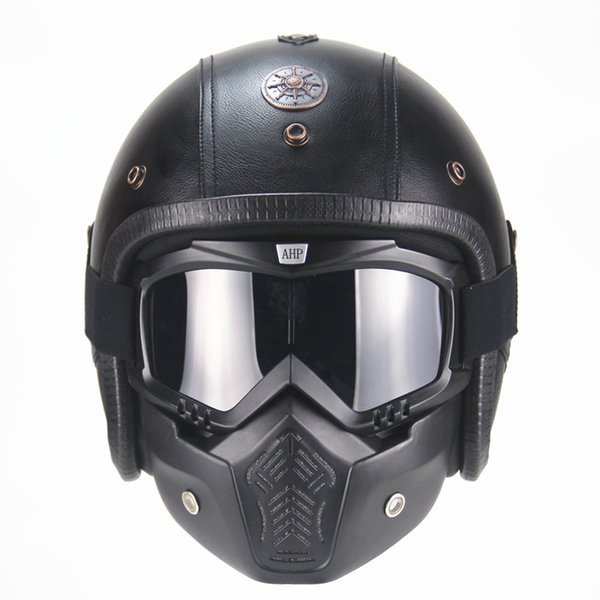 Free shipping PU Leather Harley Helmets 3/4 Motorcycle Chopper Bike helmet vintage motorcycle helmet with goggle mask
