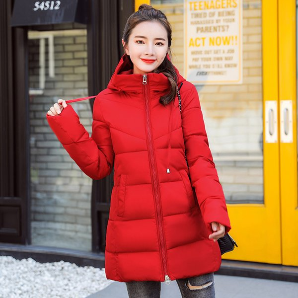 Women Winter Basic Jacket Tops Cotton Padded Slim Long Hooded Female Coat Womens Jackets Casaco Feminino Inveno