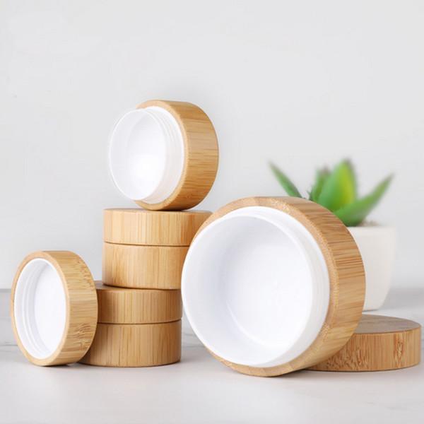 5g bambou contenant des pots de crème en plastique d'emballage cosmétique vide bois pot de cosmétique avec couvercle bouteille rechargeable