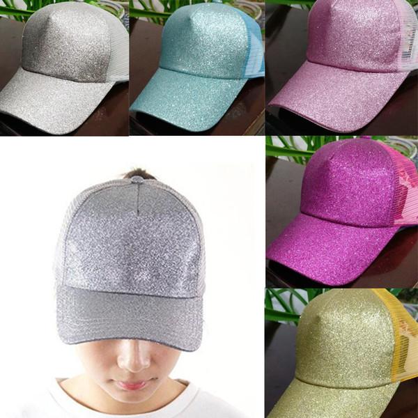 best selling 23 Colors Women hat Glitter Ponytail Baseball hat Girl Softball hats back hole Pony Tail Glitter Mesh Baseball Cap Hat