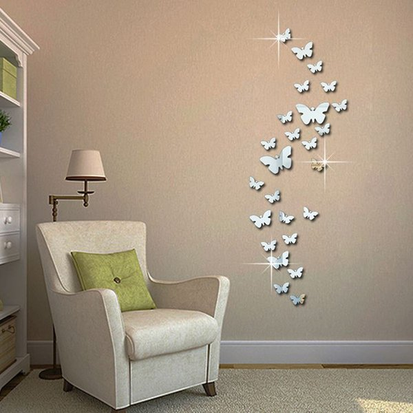 12pcs 3D Mirror Butterfly Wall Stickers Decal Wall Art Removable Homer Room Party Wedding Silver DIY Newest