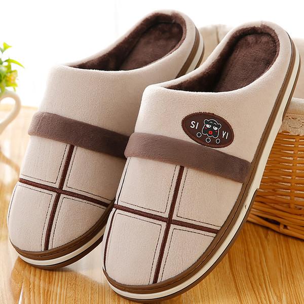 c00feca5b62f Winter man slipper plush plaid large size 7-16 designer indoor slippers men  soft non