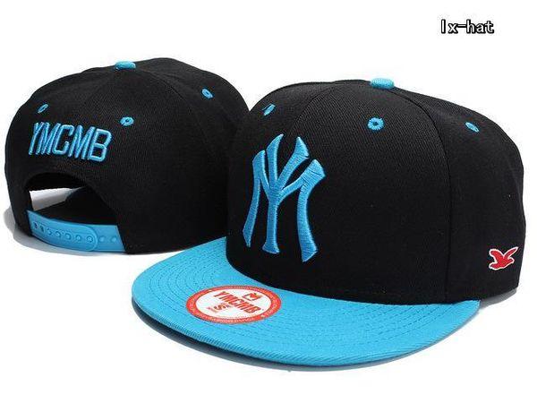 Hot New YMCMB Snapback Hats black with blue brim fashion designer mens women adjustable snap backs cap & hat cheap baseball caps