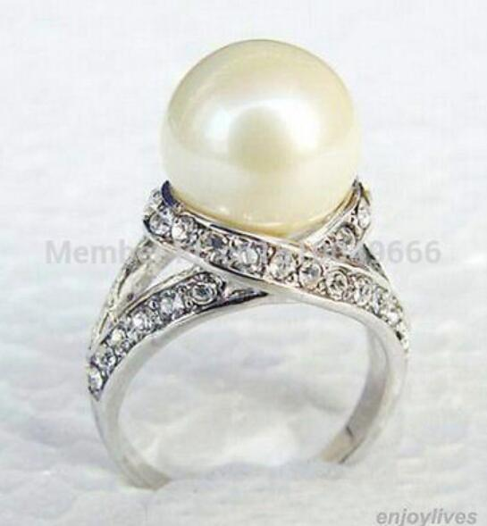 FREE SHIPPING >>>White South Sea Shell Pearl White STONE Ring Size: 6.7.8.9