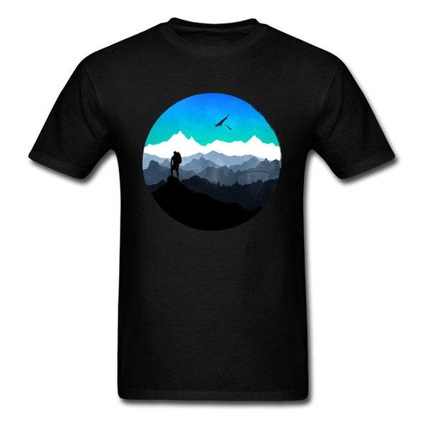 Everest 2018 Montanha Conquistador Preto T Shirt Dos Homens Aquarela Estética Tops Tees de Verão T Camisa de Roupas de Treino