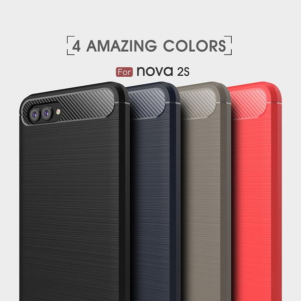10PCS CellPhone Cases For Huawei nova2s TPU Carbon Fiber heavy duty shockproof case for huawei nova2s cover Free shipping