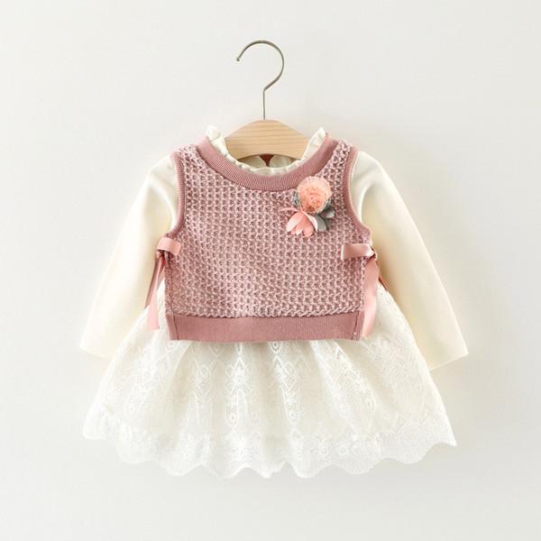 2017 Kinder Kleidung Marke Neue Baby Mädchen Kleidung Sets Weiß Baumwolle Spitze Lange Ärmel Kleid + Blumen Wolle Weste 2 Stücke Mädchen Neugeborenen Kleidung