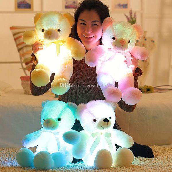 LED Flash Light Bear plush toys cartoon 30cm/12 inches LED Bear Stuffed Animals Kids Toys Birthday Gift Valentine's Day surprise C3358