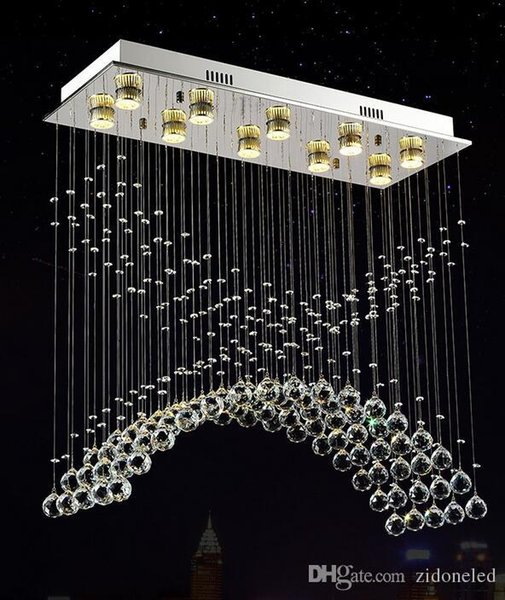 Water drop K9 crystal Plafón salón luminarias plafón luminarias para sala de jantar acero inoxidable plafón moderno plafón