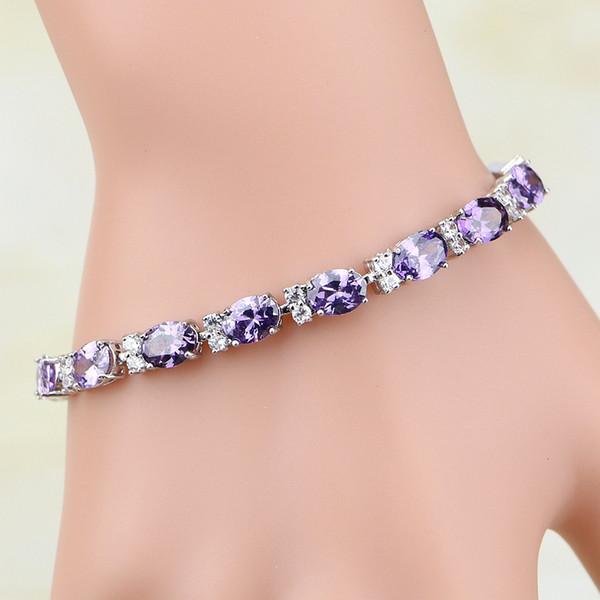 pulseras para 925 joyas de plata esterlina púrpura Zircon blanco CZ Charm pulseras para las mujeres caja de regalo libreEnvío S097