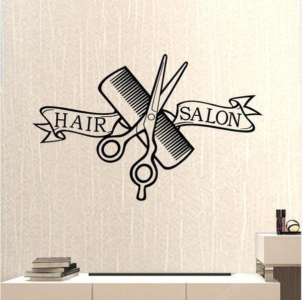 Parrucchiere Negozio di barbiere Adesivo Forbici Tagliacapelli Parrucchiere Decalcomania da taglio neutro Adesivo da parete in vinile Decorazione per finestre 37 * 58 // 58 * 91 cm