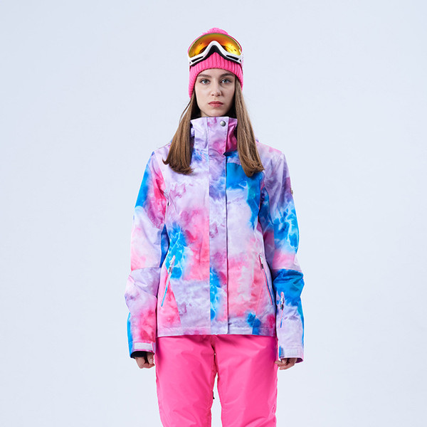 GSOU SNOW Autumn Winter New Women's Ski Suit Outdoor Windproof Waterproof Breathable Warm Pink Ski Jacket For Lady Size XS-L