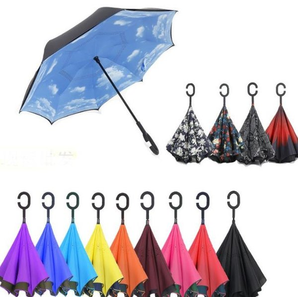 best selling Creative Inverted Umbrellas Double Layer With C Handle Inside Out Reverse Windproof Umbrella colors new hot SN1036