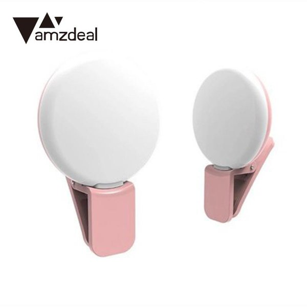 amzdeal Mini Round Selfie Photo Picture Clip Fill Light Lamp LED For Cellphone Camera With USB charging cable