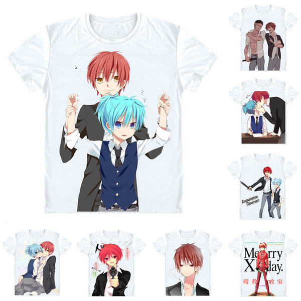 Assassination Classroom Ansatsu Kyoushitsu T-Shirts Short Sleeve Shirts Anime Manga Akabane Karuma Akabane Karma Class 3-E Cosplay Shirt