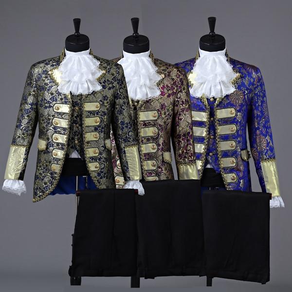Príncipe real de três cores mens traje de época Medieval desempenho palco de palco / Príncipe encantado fada William / guerra civil / Colonial fase Belle