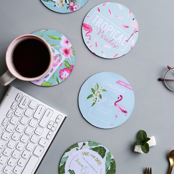 natural rubber coaster Japan style Flamingo printed cute round drink coasters creative cup mat & pad simple mats drinking pads