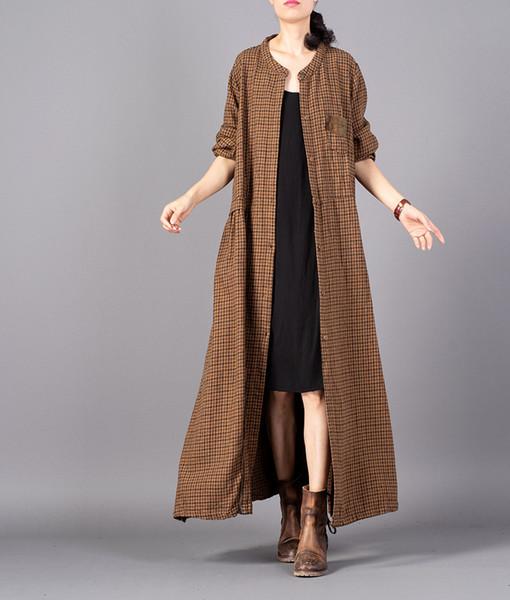 Großhandel Long Mantel Frauen Coat Leinen Lose Von Plaid Vintage Outwear Mantel Damen Herbst Baumwolle Retro Flachs Baumwolle Plaid Weibliche 2018 WEIHD29Y