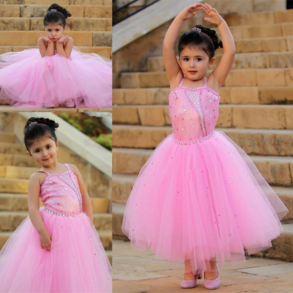 Cute Princess Pink Flower Girl Dresses A-Line Spaghetti Straps Sequins Tulle Puffy Kids Toddler Birthday Communion Girls Pageant Dress