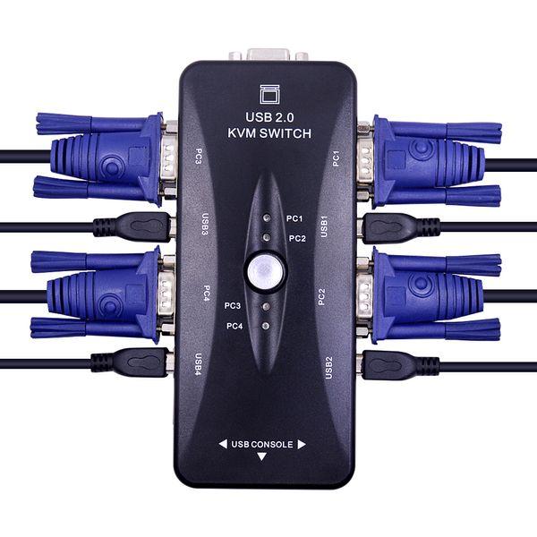 Commutateur KVM USB 2.0 à 4 ports Répartiteur VGA / SVGA Adaptateur de sélection HUB 1920 X 1440 Connecte le moniteur de souris du clavier de l'imprimante