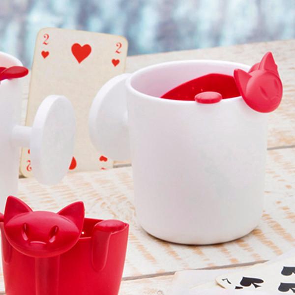 Kitten Café Té Infuser del tamiz del té de la tetera animal plástico de dibujos animados Las bolsitas de té Vasos de café de filtro Accesorios del té