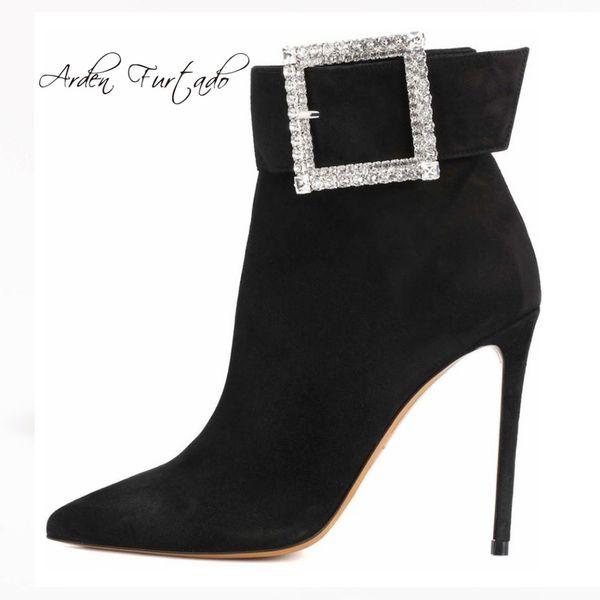 Daim Femmes De Talons Bottines De Boucle Acheter Taille Mode En En D'hiver Cristal 12cm Arden Stilettos Hauts Strass Noir Chaussures Grande Furtado srCQdthx