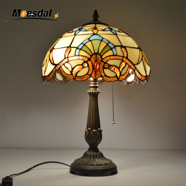 moesdal 12 inch tiffany table lamp stained glass european baroque classic for living room e27 110-240v