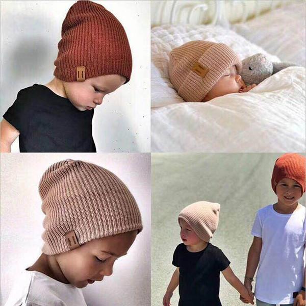 2018 New Arrival Kids Girl Boy Winter Hat Baby Soft Warm Beanie Cap Crochet Elasticity Knit Hats Children Casual Ear Warmer Cap C18111601