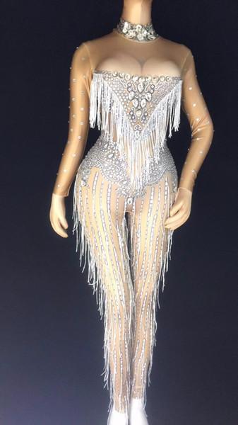 Mulheres Nova cantora feminina DS traje boate rhinestone collar dança do jazz dança franja corpo apertado festa de aniversário festa