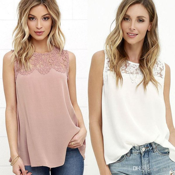 Women Fashion Summer Loose Casual Vest Sleeveless Shirt T shirt Ladies Casual Cotton White Pink T-Shirts