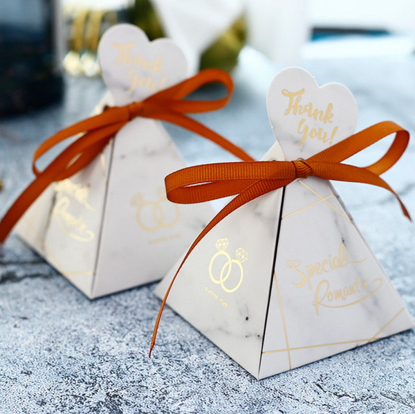 50pcs Wedding Gifts for Guests Triangle Cardboard Candy Package Party Box for Kids Birthday Decorations Favors