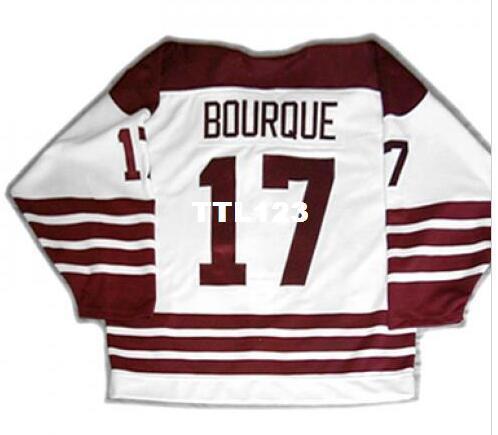 Gerçek Erkekler gerçek Tam nakış Özelleştirmek AHL Hershey Bears 17 Chris Bourque Hokeyi Forması veya özel herhangi bir isim veya numara Hokeyi Jersey