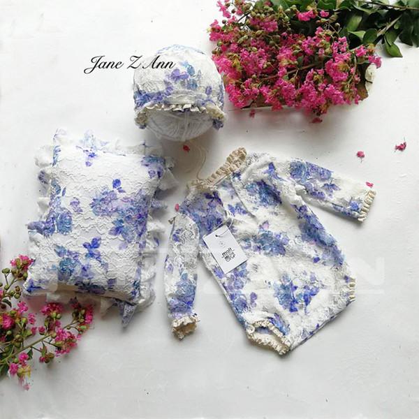 Jane Z Ann Newborn Fotografia Outfit Baby pizzo fiore cuscino Set Infant Photo shoot Puntelli Foto neonato Vestiti doccia regalo