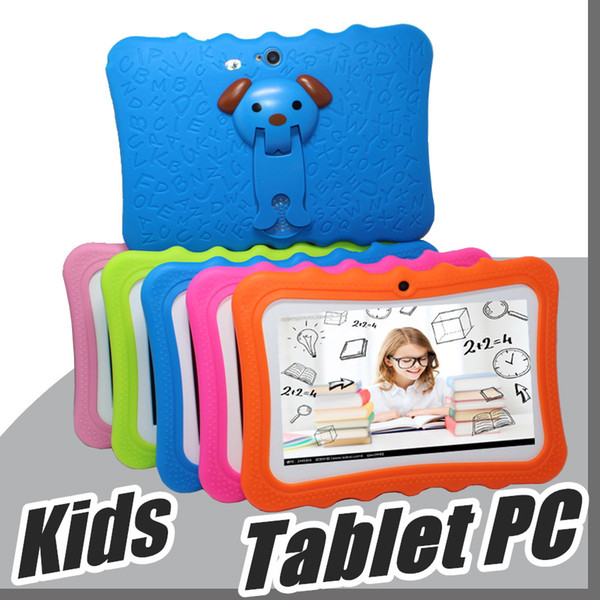 """top popular 2018 DHL Kids Brand Tablet PC 7"""" Quad Core children tablet Android 4.4 Allwinner A33 google player wifi big speaker protective cover L-7PB 2019"""