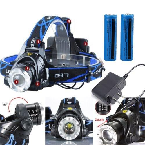 8000LM Headight Tactical T6 Cree XM-L Rechargeable T6 LED Headlamp Zoomable SOS + 2x 18650 Battery + Charger