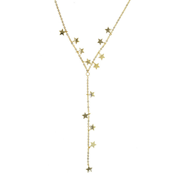 2018 Chrismas gift many gold plated star charm link chain Y lariat long chain sexy women lovely star statement necklace