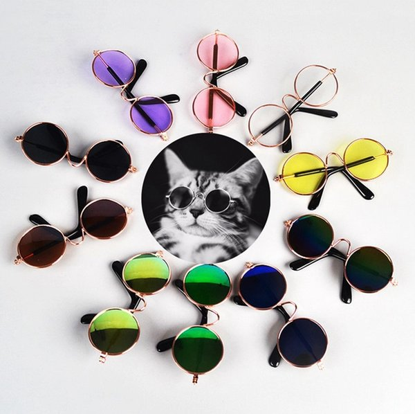 Dog Glasses Pet Cat Sunglasses Puppy Sun Glasses Small Dog Eyewear Photos Props Pet Accessories Supplies 12 Colors Optional YW1589